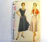 1950s Vintage Sewing Pattern Misses Womens Hourglass Dress Bolero Jacket Size 14 Simplicity 4651