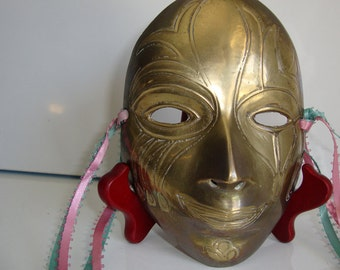 Brass Mask,  Harlequin Mardi Gras Mask,  Brass Face Mask,  Ready for Decoration