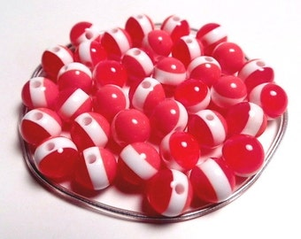 10 Resin Acrylic Rainbow Red White Stripe Multicolored Round Beads 8mm