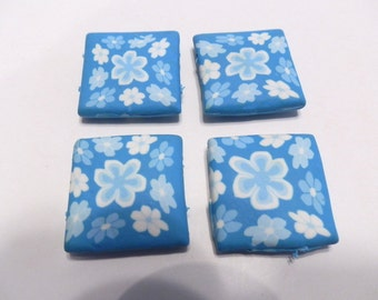 4 Fimo Polymer Clay Fimo Square Light Blue Flower Rose 30mm Beads