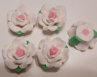 10 Fimo Polymer Clay Fimo Flower Rose Fimo Beads 32mm White Pink