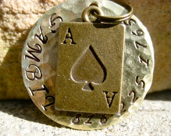 The Gambit (#021) - Unique Handstamped Ace of Spades Pet ID Tag Dog