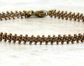 Antique Gold Bead Ankle Bracelet - Seed Bead Anklet - Beadwork Jewelry - Summer Beach Anklet - Foot Jewelry - Chain Anklet