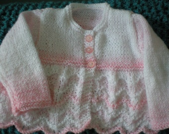 Little girl scalloped sweater - varigated pink & white