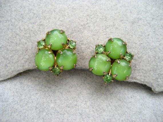 Vintage Moonstone Earrings Lime Green Rhinestone