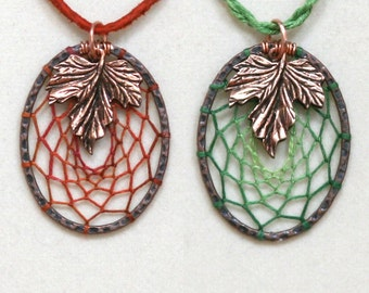 Dream Catcher Green Rust Leaf Antiqued Copper Dreamcatcher Necklace Variegated