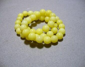 Jade Beads Yellow  Round 8mm
