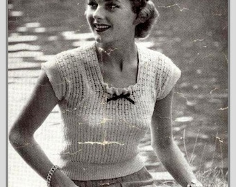 PDF Knitting Pattern for a Lacy Scoop Neck 1940's Jumper - Chic and Feminine - Instant Download