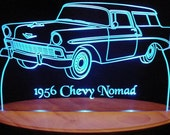 "1956  Nomad Acrylic Lighted Edge Lit LED  Sign  13"" VVD1 Full Size USA Original"