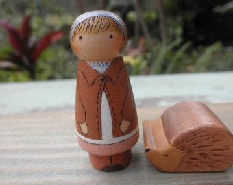 Wood Toys- LUCIE-Hedgehog- Peter Rabbit  Series-BEATRIX POTTER-Pretend Play
