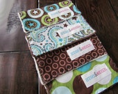 Baby Burp Cloths, Set of Four in Swirls and Stars- READY TO SHIP