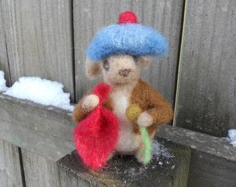 Benjamin Bunny Needle Felted Art Doll / Beatrix Potter Wool Animal / Waldorf Soft Toy / Springtime Rabbit Blue Hat