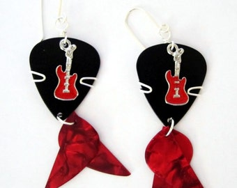 Guitar Pick Earrings - Black and red dangle earrings