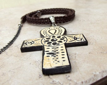 Men's Leather Necklace:  Large Ankh Cross Unisex Jewelry, Dark Brown Handmade Macrame, Egyptian Cross