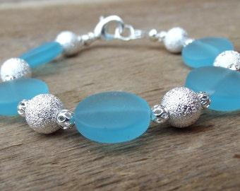 Ocean Blue Bracelet:  Turquoise Blue and Silver Beaded Sparkle Sea Glass Beach Jewelry, Resort Wear Accessory