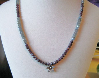 Labradorite, garnet, pyrite and sterling silver necklace: charity donation