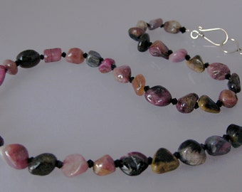 Rustic tourmaline and Swarovski crystal necklace: charity donation