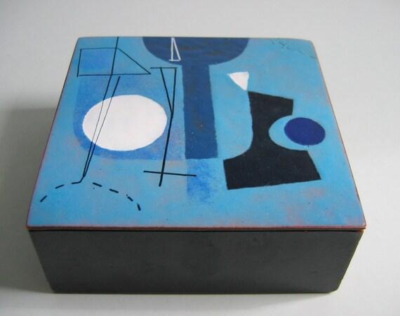 Rare Harold Balazs Enamel Box. Vintage 1950.  Enameled Copper top.  Signed, Mid Century Modern, Eames era. Vintage Modern Art.