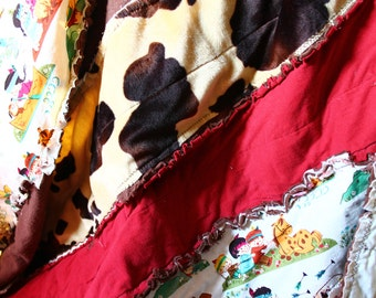 Cowboys and Indians Rag Quilt  Perfect for your little cowboy. Ready to ship . Will be in your hands this week