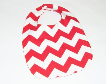 Christmas Bib - Red and White Chevron Bib - New Baby Gift Under 10