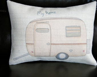 My Home Trailer Burlap Pillow, camping,  retirement gift, INSERT INCLUDED