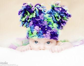 Crochet Hat Pattern: 'Tootie Fruity', Pom Poms, Crochet Photo Prop