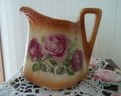ViNTaGe Czech Pink & Red Roses Pitcher