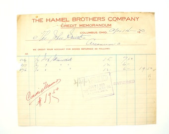 Vintage / Antique The Hamiel Brothers Company Receipt (c.1923) - Collectible Ephemera, Scrapbook/Journal Supply, Altered Art