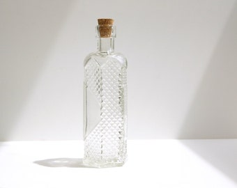 "Decorative Clear Glass Bottle with Cork, ""Stars Design"" (5"" tall), Style 1 - Small bottle perfect for spices, bath salts,  vases, and more"