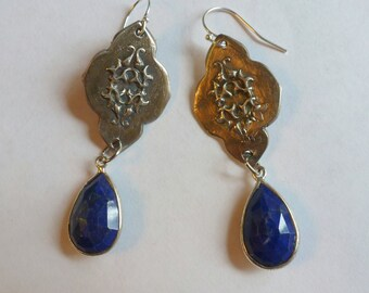 Handcrafted Fine Silver .999 Dangle Earrings with Natural Lapis Lazuli Gemstones