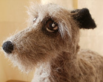 Artist Needle Felted Scottish Deerhound Sculpture Dog - Dorkus