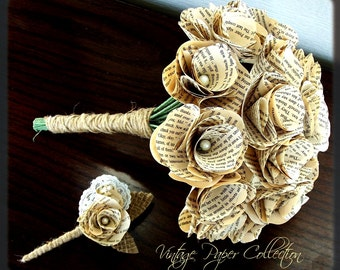Book Page Bouquet - Book Page Boutonniere -Book Bouquet -Book Flowers -Paper Roses -18 Paper Roses -Storybook Wedding