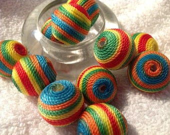 6 Wax Cord Beads, Round, Multicolor, 22mm in diameter, hole:3mm