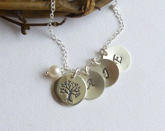 Sterling Silver Etched Family Tree Initial Necklace --  Mothers Grandmothers Gift -- Three Initials