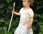 Sale Holiday rustic boho flower girl winter off white princess eco birthday gypsy ecru original dress toddler