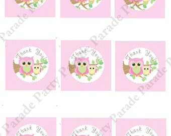DIY Girl Owl Baby Shower Gift Tags- digital file, printable, you print at home