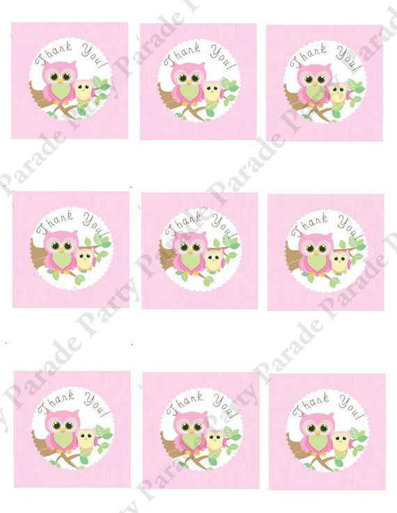 Baby shower stickers michaels ~ diy girl owl baby shower gift tags digital by paperpartyparade
