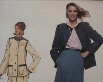 Vintage 1970's Vogue Paris Original Designer Christian Dior Skirt Jacket and Blouse Sewing Pattern 1735 Size 10 Bust 32 1/2