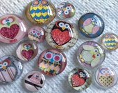 "18 Owls Dozen Owls Glass Fridge Magnet Set (18)Twelve magnets owls in three sizes S(1/2 ""),M(1""),L(1.2"")"