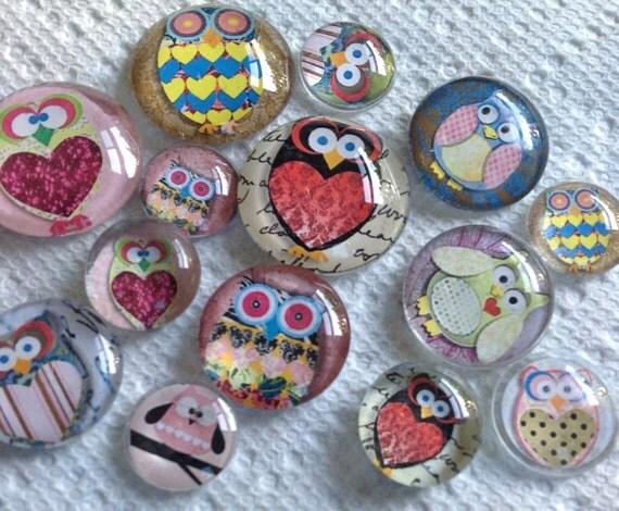 "Owls Dozen Owls Glass Fridge Magnet Set (12) Twelve magnets owls in three sizes S(1/2 ""),M(1""),L(1.2"")"