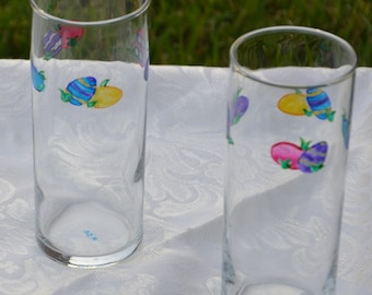 Easter Egg Glasses - Pair - Handpainted - 12 ounce Zombie
