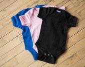 Custom Short-Sleeve Color Onesie, Pink, Blue, or Black.
