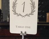 Sweet Vintage Wedding Table Number Signs 1-10 - Custom Color