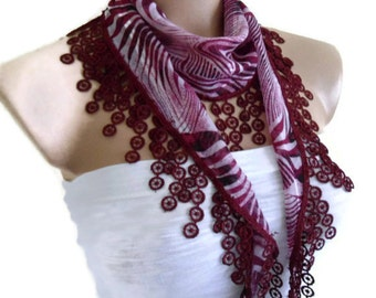 Necklace scarves, Traditional Turkish-style, Headband, Fashion scarf, Burgundy, pink and Ivory, 2014 scarves