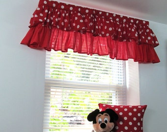Two Tiered Ruffled Curtain Valance Nursery Kids Window Treatments Red and White Polka Dot Curtain Handmade in the USA