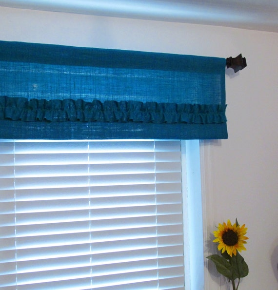 Burlap Ruffled Valance Turquoise Rustic By Supplierofdreams