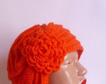 Handmade crochet  Hat with white-carrot color flower.