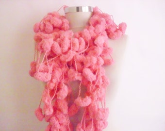 CROCHET SCARF Pink pom Pom Cheerleader Knit Scarf Curly Long Scarf,Cowl, Necktie - Cocoon, Mulberry, Pompom Yarn - Gift for