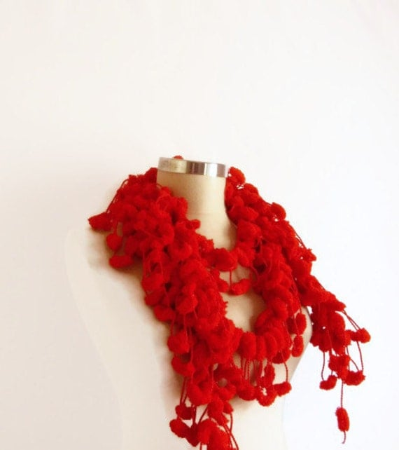 SCARF RED Long , gift mother  Neckwarmer, Cowl, Necktie - Cocoon, Mulberry, Pompom Yarn -  Gift for