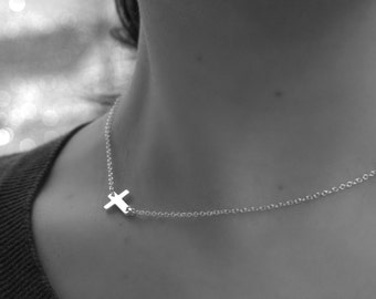 Cross Necklace - SIDEWAYS CROSS Pendant- Sterling Silver - tiny cross necklace